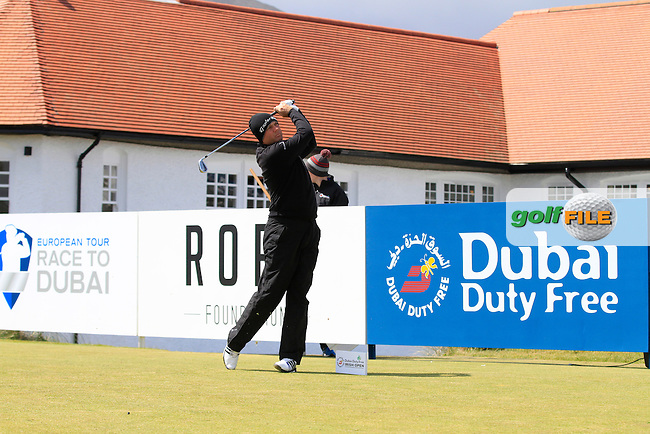 Greame Storm (ENG) on the 10th tee during Round 1 of the 2015 Dubai Duty Free Irish Open, Royal County Down Golf Club, Newcastle Co Down, Northern Ireland. 28/05/2015<br /> Picture Thos Caffrey, www.golffile.ie