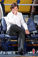 12 January 2012:  FIU Basketball Head Coach Cindy Russo watches her team in the second half as the Middle Tennessee State University Blue Raiders defeated the FIU Golden Panthers, 74-60, at the U.S. Century Bank Arena in Miami, Florida.