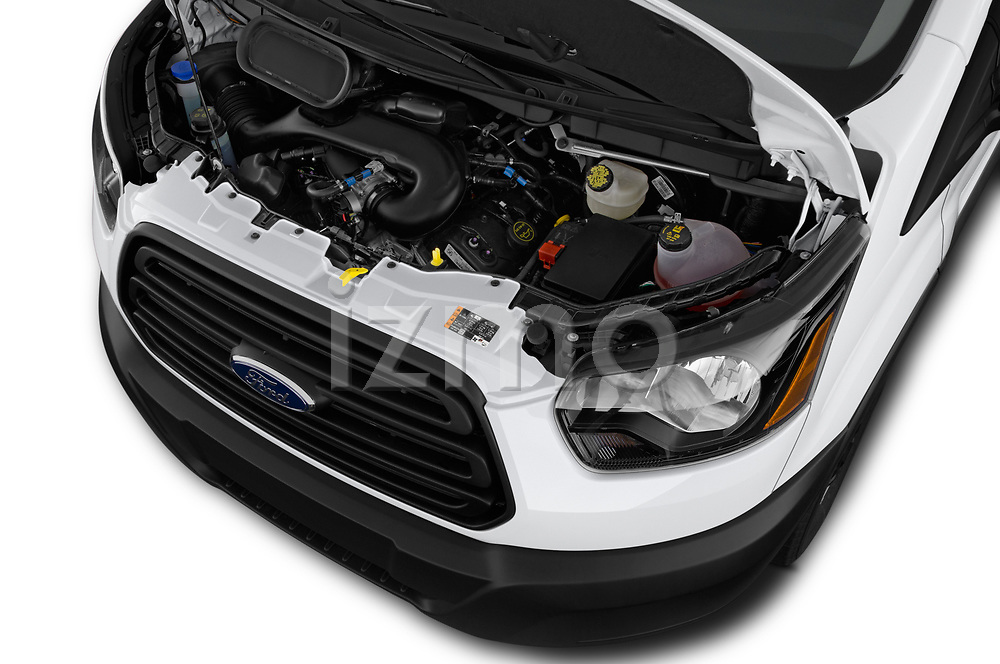 Car stock 2019 Ford Transit Van 250 LR 4 Door Cargo Van engine high angle detail view