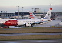 A Norwegian Boeing 737 MAX 8 Registration LN-BKB in Mark Twain livery at Manchester Airport on 11.2.19 arriving from Stockholm Arlanda Airport, Sweden.