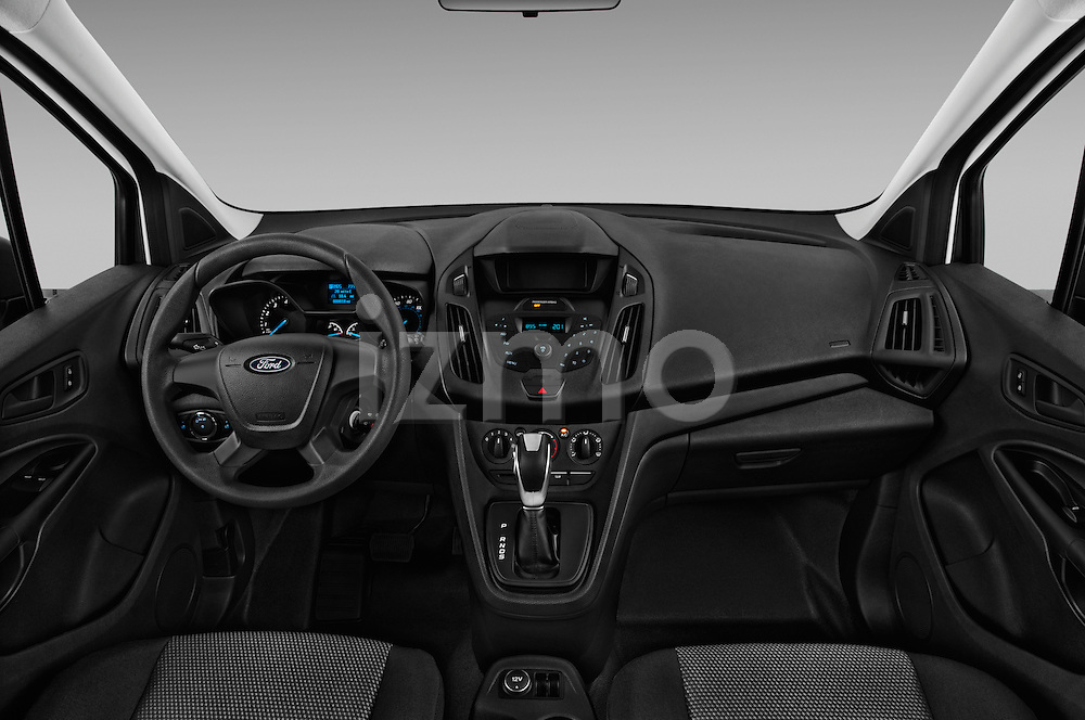 Stock photo of straight dashboard view of 2018 Ford Transit-Connect Van-XL-SWB-(Rear-Liftgate) 5 Door Mini MPV Dashboard