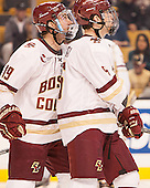 Casey Fitzgerald (BC - 5), Ryan Fitzgerald (BC - 19) - The Boston College Eagles defeated the Harvard University Crimson 3-2 in the opening round of the Beanpot on Monday, February 1, 2016, at TD Garden in Boston, Massachusetts.