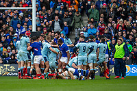 8th March 2020; Murrayfield Stadium, Edinburgh, Scotland; International Six Nations Rugby, Scotland versus France; Mohamed Haouas of France throws a punch at Jamie Ritchie and was sent off for fighting