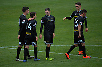 Team Wellington players celebrate Ross Allens's second goal, set up by Henry Cameron (centre) during the 2019 OFC Champions League quarter final football match between Team Wellington and Henderson Eels at David Farrington Park in Wellington on Sunday, 7 April 2019. Photo: Dave Lintott / lintottphoto.co.nz