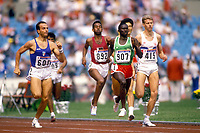 23rd September 1988, Seoul, South Korea; 1988 Olympic games, 800m; Steve Cram GBR, Babacar Niang Senegal and Donato Sabia Italy on the final straight. Sabia has died from Covid-19 after his father passed away from the same virus days before