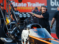 Feb 2, 2018; Chandler, AZ, USA; Crew chief for NHRA top fuel driver Mike Salinas during Nitro Spring Training pre season testing at Wild Horse Pass Motorsports Park. Mandatory Credit: Mark J. Rebilas-USA TODAY Sports