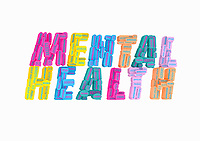 Lots of different mental health issues forming the words Mental Health