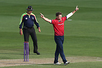Matt Coles of Essex celebrates taking the wicket of Joe Denly during Essex Eagles vs Kent Spitfires, Royal London One-Day Cup Cricket at The Cloudfm County Ground on 6th June 2018