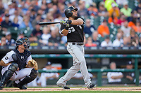 Melky Cabrera (53) of the Chicago White Sox follows through on his swing against the Detroit Tigers at Comerica Park on June 2, 2017 in Detroit, Michigan.  The Tigers defeated the White Sox 15-5.  (Brian Westerholt/Four Seam Images)