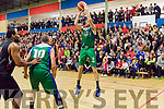 Darragh O'Hanlon, Garvey's Tralee Warriors goes for three points for his team when they met Kubs Basketball club from Dublin last Saturday night in the Tralee sports complex.