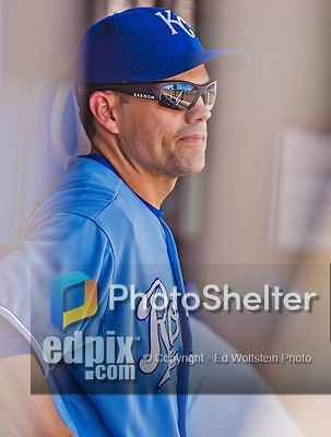 25 August 2013: Kansas City Royals utilityman Jamey Carroll looks out from the dugout prior to a game against the Washington Nationals at Kauffman Stadium in Kansas City, MO. The Royals defeated the Nationals 6-4, to take the final game of their 3-game inter-league series. Mandatory Credit: Ed Wolfstein Photo *** RAW (NEF) Image File Available ***