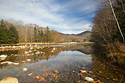 Reflection of Big Coolidge Mountain in the East Branch of the Pemigewasset River in Lincoln, New Hampshire during the autumn months.