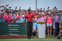 Tiger Woods (USA) watches his tee shot on 1 during round 4 of The Players Championship, TPC Sawgrass, at Ponte Vedra, Florida, USA. 5/13/2018.<br /> Picture: Golffile | Ken Murray<br /> <br /> <br /> All photo usage must carry mandatory copyright credit (&copy; Golffile | Ken Murray)