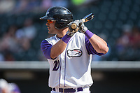 Aaron Schnurbusch (20) of the Winston-Salem Dash at bat against the Buies Creek Astros at BB&T Ballpark on April 16, 2017 in Winston-Salem, North Carolina.  The Dash defeated the Astros 6-2.  (Brian Westerholt/Four Seam Images)