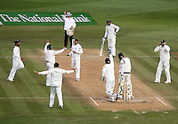 India celebrates Harbhajan Singh's dismissal of Martin Guptill during day four of the 3rd test between the New Zealand Black Caps and India at Allied Prime Basin Reserve, Wellington, New Zealand on Monday, 6 April 2009. Photo: Dave Lintott / lintottphoto.co.nz.