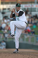 Dayton Dragons pitcher Erik Miller #37 delivers a pitch during a game against the Lake County Captains at Fifth Third Field on June 25, 2012 in Dayton, Ohio. Lake County defeated Dayton 8-3. (Brace Hemmelgarn/Four Seam Images)