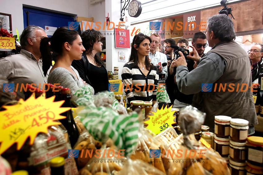 Virginia Raggi<br /> Roma 30-04-2016 Virginia Raggi visita il quartiere Prenestino ed il mercato coperto di via della Primavera.<br /> Rome 30th April 2016. The candidate Mayor of Rome for Movement 5 Stars visits the market of Prenestino quarter.<br /> Photo Samantha Zucchi Insidefoto