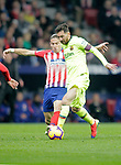 Club Atletico de Madrid's Filipe Luis (L) and Futbol Club Barcelona's Leo Messi  during La Liga match. November 24,2018. (ALTERPHOTOS/Alconada)