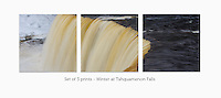 Display a print in a different way with this 3-image photo split of Tahquamenon Falls during the winter.