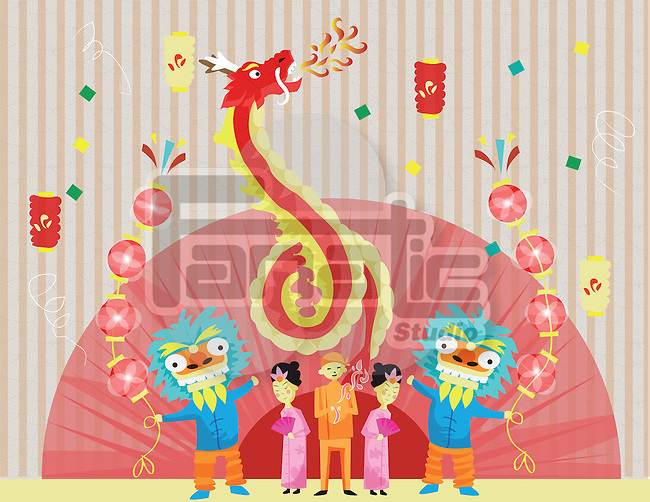 Illustrative image of people celebrating Chinese New Year