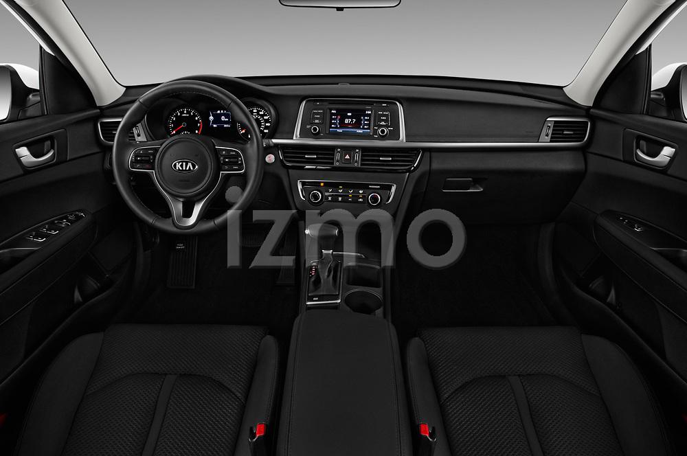 Stock photo of straight dashboard view of 2016 KIA Optima LX Turbo 4 Door Sedan