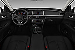 Stock photo of straight dashboard view of 2016 KIA Optima LX Turbo 4 Door Sedan