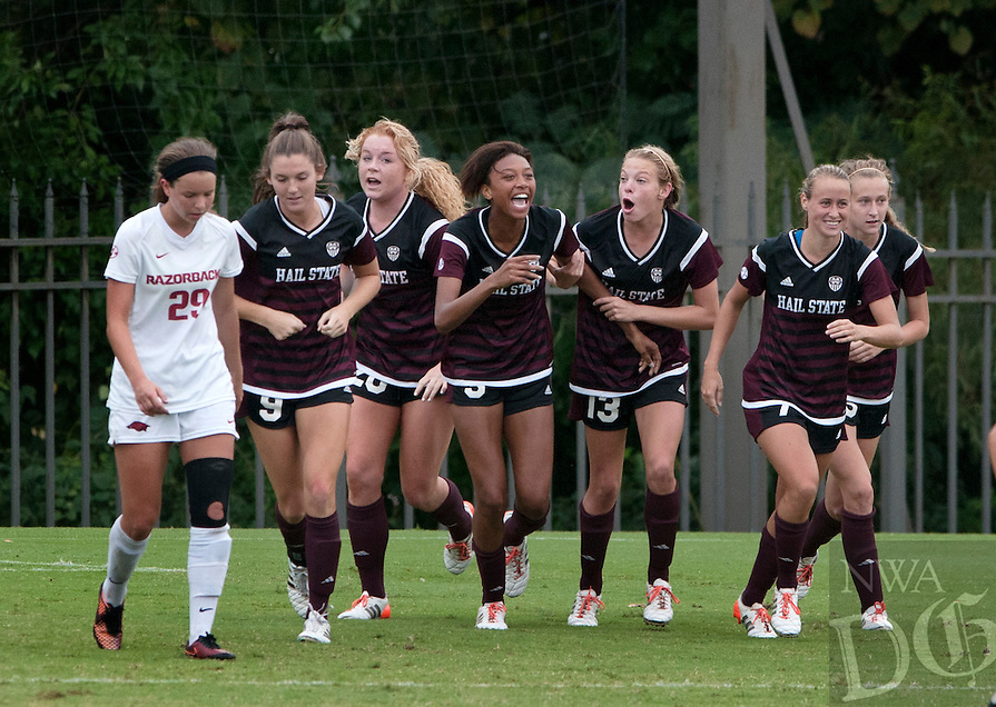 NWA Democrat-Gazette/BEN GOFF @NWABENGOFF<br /> Mississippi State players celebrate their second goal on Sunday Sept. 20, 2015 during their 2-1 defeat of Arkansas at Razorback Field in Fayetteville.