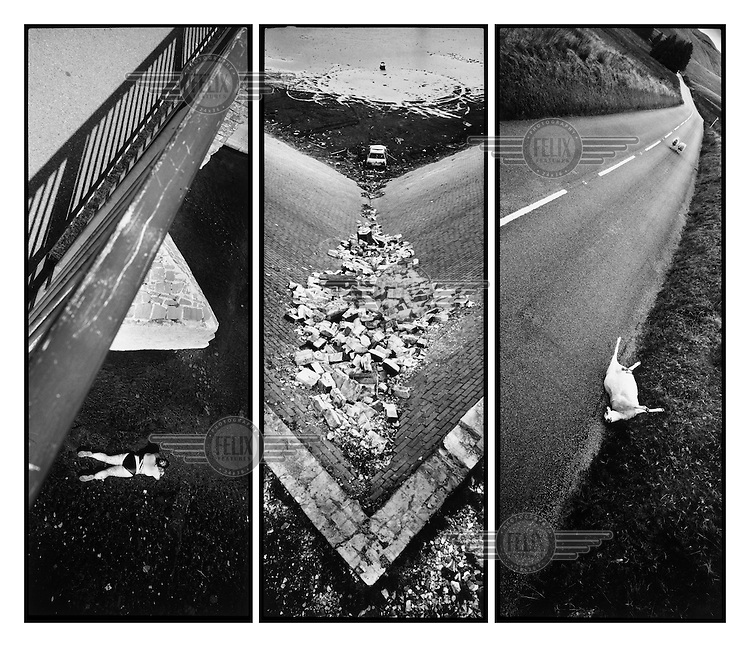 Triptych composition - Left: a bather lies in the river Usk beneath a bridge in Brecon. Centre: a burnt out car and piles of rubbish lie abandoned at the bottom of a disused reservoir in Cynnon Valley. Right: a dead sheep lies by the side of the road while two sheep walk down the road in the distance on a road in North Wales.