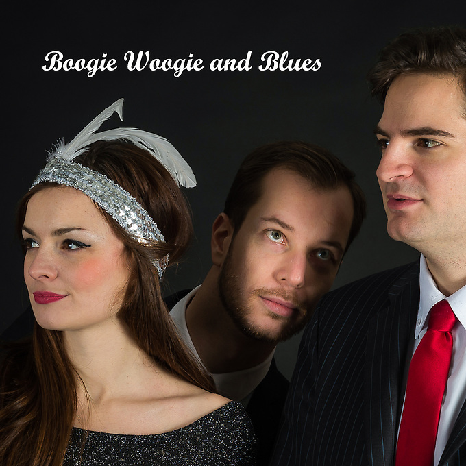 Gabrielle Jeanselme, Thomas Racine and Jean-Baptiste Franc (l to r) at a photo-shoot by Andrew Lyndon-Skeggs for the cover of a new CD created by Gabrielle Jeanselme (vocal),  Jean-Baptiste Franc (piano) and Thomas Racine (drums / batterie). The photo-shoot took place at Paris Boogie Speakeasy, 256 Rue Marcadet, Paris, the unique private jazz club founded and run by Yves Riqquet. Thursday 13th February 2014.