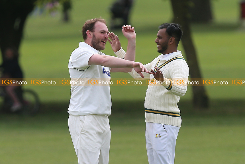 R Brabner of Harold Wood celebrates taking the wicket of A Zaidi during Harold Wood CC vs Ilford CC, Shepherd Neame Essex League Cricket at Harold Wood Park on 29th April 2017