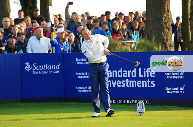 Jamie Donaldson (EUR) during the Saturday morning Fourballs of the 2014 Ryder Cup at Gleneagles. The 40th Ryder Cup is being played over the PGA Centenary Course at The Gleneagles Hotel, Perthshire from 26th to 28th September 2014.: Picture Eoin Clarke, www.golffile.ie: \27/09/2014\