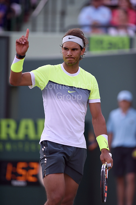 KEY BISCAYNE, FL - MARCH 29: Rafael Nadal of Spain looses to Fernando Verdasco of Spain during day 7 of the Miami Open at Crandon Park Tennis Center on March 29, 2015 in Key Biscayne, Florida.<br /> <br /> <br /> People:  Rafael Nadal<br /> <br /> Transmission Ref:  FLXX<br /> <br /> Must call if interested<br /> Michael Storms<br /> Storms Media Group Inc.<br /> 305-632-3400 - Cell<br /> 305-513-5783 - Fax<br /> MikeStorm@aol.com