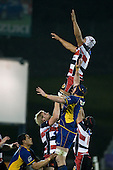 Fritz Lee goes high in a lineout. Air New Zealand Cup rugby game played at Mt Smart Stadium, Auckland, between Counties Manukau Steelers & Otago on Thursday August 21st 2008..Otago won 22 - 8 after leading 12 - 8 at halftime.