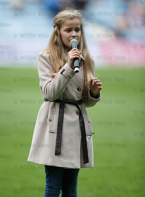 Megan Adams, 11 year old singer with the Poppy Girls performing before the teams emerge at Ibrox Stadium