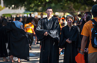 Incoming first-years start the year at Occidental College's 127th annual Convocation ceremony on Aug. 28, 2013 in the Academic Quad.<br /> (Photo by Marc Campos, Occidental College Photographer)
