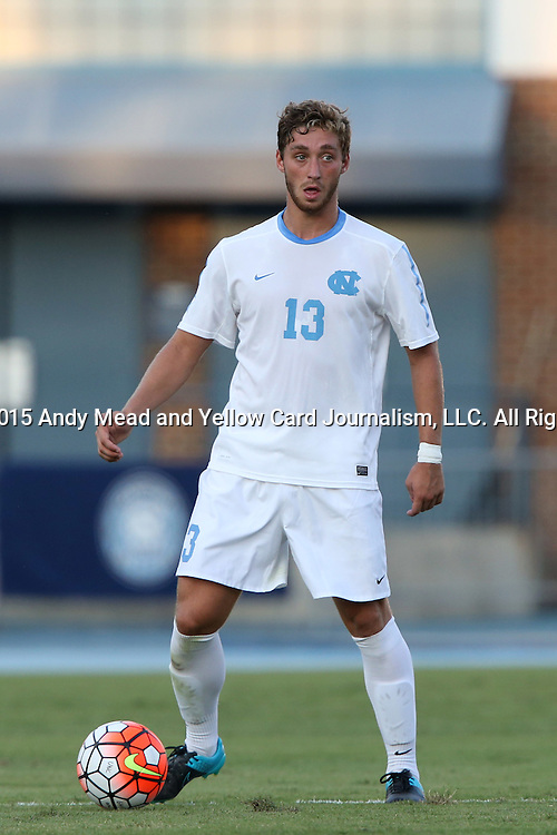 14 August 2015: North Carolina's Evan Krause. The University of North Carolina Tar Heels hosted the Winthrop University Eagles at Fetzer Field in Chapel Hill, NC in a 2015 NCAA Division I Men's Soccer preseason exhibition. North Carolina won the game 4-1.