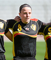 20140407 - BRUSSELS , BELGIUM : Belgian Lucinda Michez (8) pictured during the female soccer match between CZECH REPUBLIC U19 and BELGIUM U19 , in the second game of the Elite round in group 4 in the UEFA European Women's Under 19 competition 2014 in the Koning Boudewijn Stadion , Monday 7 April 2014 in Brussels . PHOTO DAVID CATRY