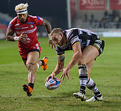 16th March 2018, The AJ Bell Stadium, Salford, England; Betfred Super League rugby, Salford Red Devils versus Hull FC; Dean Hadley scores the opening try for Hull FC <br /> - Salford 2 Hull FC 6 after the successful conversion