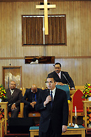 10/17/10 12:25:31 PM -- Darby, PA<br />  -- Democratic Congressional candidate Bryan Lentz speaks with the congregation of First Baptist Church October 17, 2010  in Darby, Pennsylvania. Bryan Lentz  faces Republican Pat Meehan  in the Nov. 2 general election.   --  Photo by William Thomas Cain/Cain Images