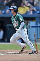 Greensboro Grasshoppers designated hitter Avery Romero #1 swings at a pitch during a game against the  Asheville Tourists at McCormick Field June 29, 2014 in Asheville, North Carolina. The Grasshoppers defeated the Tourists 4-0. (Tony Farlow/Four Seam Images)