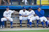 The Burlington Royals dugout during an Appalachian League game versus the Bluefield Orioles at Burlington Athletic Park in Burlington, NC, Saturday, July 26, 2008. (Photo by Brian Westerholt / Four Seam Images)