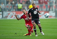 11 September 2010: D.C. United defender Jordan Graye #16 and Toronto FC midfielder Martin Saric #25 in action during a game between DC United and Toronto FC at BMO Field in Toronto..DC United won 1-0..