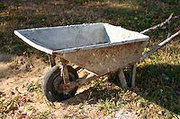 Portrait of a working wheelbarrow on the farm in Poland. Zawady Central Poland