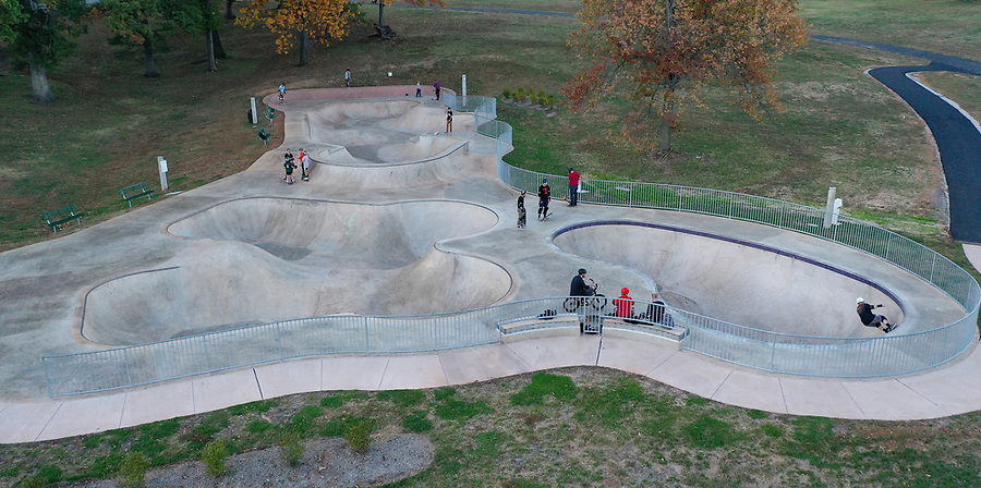 The Charlottesville Skatepark located in  McIntire Park in the heart of Charlottesville, Virginia. Photo/Andrew Shurtleff Photography, LLC