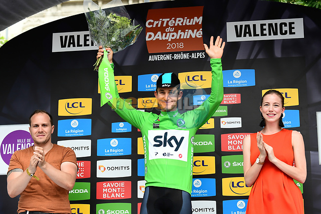 Polish National Champion Michal Kwiatkwoski (POL) Team Sky wins the opening Prologue and also wears the first Green Jersey of the 2018 Criterium du Dauphine running 6.6km around Valence, France. 3rd June 2018.<br /> Picture: ASO/Alex Broadway | Cyclefile<br /> <br /> <br /> All photos usage must carry mandatory copyright credit (© Cyclefile | ASO/Alex Broadway)