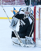 Nick Ellis (PC - 35) -  - The participating teams in Hockey East's first doubleheader during Frozen Fenway practiced on January 3, 2014 at Fenway Park in Boston, Massachusetts.
