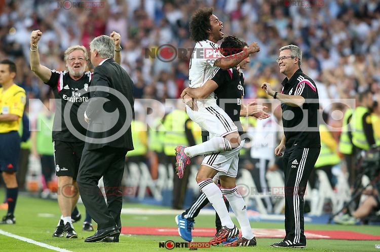 Real Madrid's Marcelo Vieira celebrates goal during La Liga match.October 25,2014. (ALTERPHOTOS/Acero) /nortephoto.com