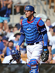 Los Angeles Dodgers' Yasmani Grandal plays against the Arizona Diamondbacks in a spring training game in Glendale, Ariz., on Friday, March 24, 2017.<br /> Photo by Cathleen Allison/Nevada Photo Source
