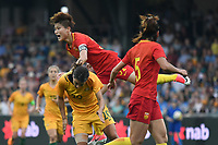 26 November 2017, Melbourne - MA JUN (32) of China PR jumps on top of SAM KERR (20) of Australia during an international friendly match between the Australian Matildas and China PR at GMHBA Stadium in Geelong, Australia.. Australia won 5-1. Photo Sydney Low