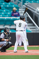 Tyler Chadwick (8) of the Coastal Carolina Chanticleers at bat against the Bryant Bulldogs at Springs Brooks Stadium on March 13, 2015 in Charlotte, North Carolina.  The Chanticleers defeated the Bulldogs 7-2.  (Brian Westerholt/Four Seam Images)